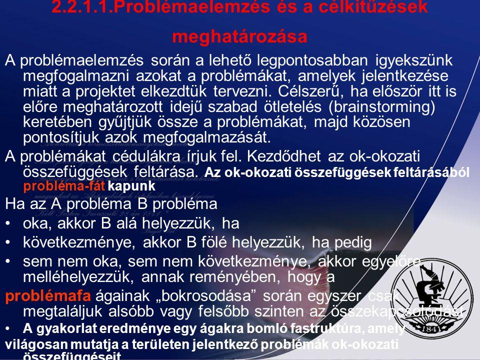 2.2.1.1.Problémaelemzés és a célkitűzések meghatározása A projekttervezés során sokan hanyagolják a probléma- és célkitűzés-elemzést, feleslegesnek, i