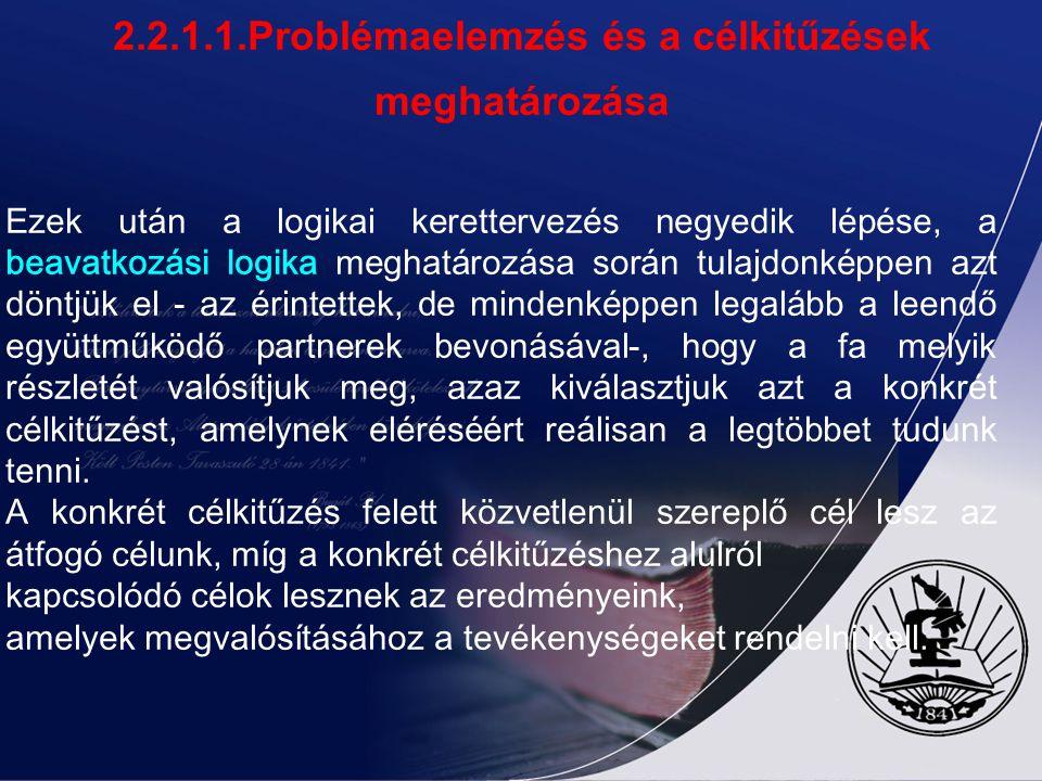 2.2.1.1.Problémaelemzés és a célkitűzések meghatározása A problémafa birtokában kezdődhet a célképzés. A célkitűzés nem tevékenységek összessége, hane