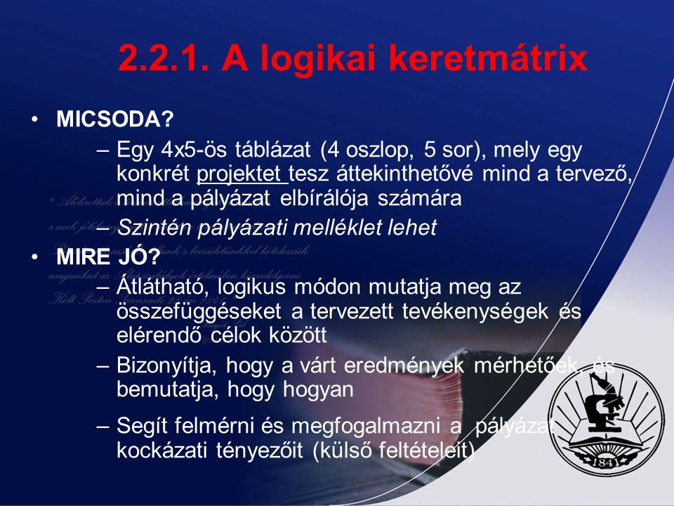 2.2. Tervezési szakasz 2.2.1. Logikai kerettervezés (LKM) a SWOT elemzés szervezetünk, célcsoportunk vagy településünk jelenlegi helyzetét jeleníti me