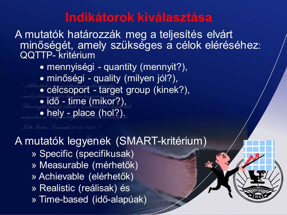 Az indikátorok típusai II. Eredmény: magát a támogatott fejlesztést vagy tevékenységet írja le. Pl.: megépített út hossza (km), x óra képzés. Cél: a p