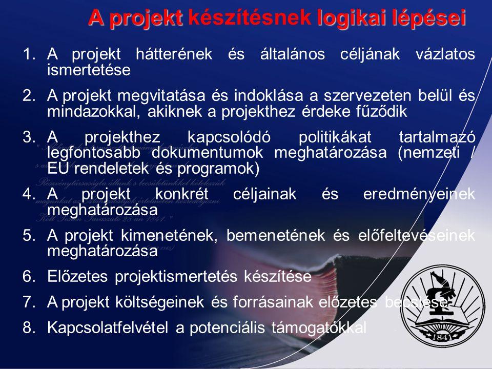 A projekt logikai lépései A projekt készítésnek logikai lépései 1.A projekt hátterének és általános céljának vázlatos ismertetése 2.A projekt megvitatása és indoklása a szervezeten belül és mindazokkal, akiknek a projekthez érdeke fűződik 3.A projekthez kapcsolódó politikákat tartalmazó legfontosabb dokumentumok meghatározása (nemzeti / EU rendeletek és programok) 4.A projekt konkrét céljainak és eredményeinek meghatározása 5.A projekt kimenetének, bemenetének és előfeltevéseinek meghatározása 6.Előzetes projektismertetés készítése 7.A projekt költségeinek és forrásainak előzetes becslése 8.Kapcsolatfelvétel a potenciális támogatókkal