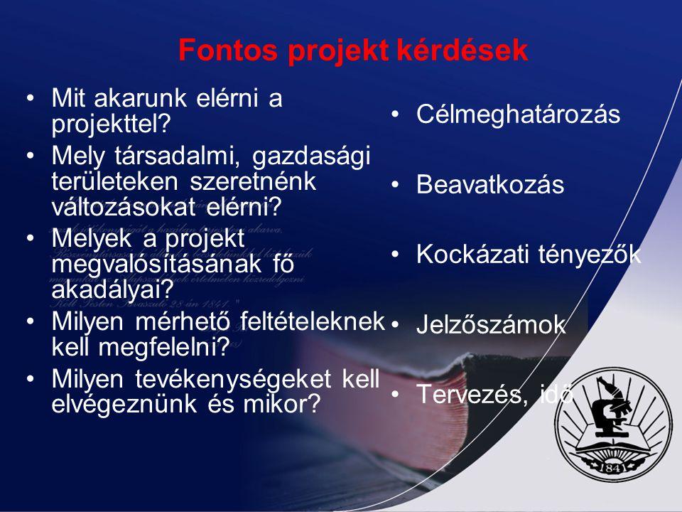 Fontos projekt kérdések Mit akarunk elérni a projekttel.