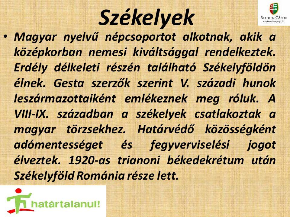 Székelyek Magyar nyelvű népcsoportot alkotnak, akik a középkorban nemesi kiváltsággal rendelkeztek. Erdély délkeleti részén található Székelyföldön él