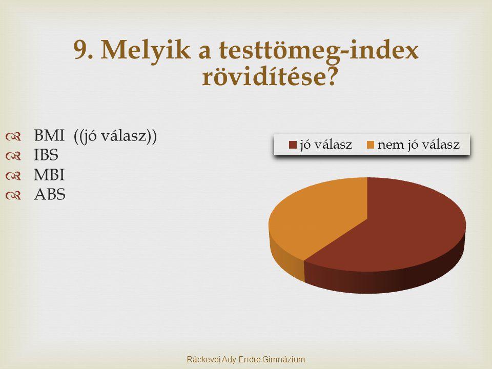 9.Melyik a testtömeg-index rövidítése.