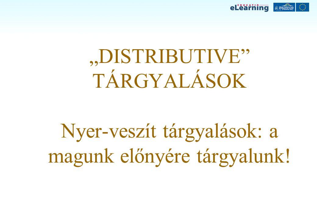 """""""DISTRIBUTIVE"""" TÁRGYALÁSOK Nyer-veszít tárgyalások: a magunk előnyére tárgyalunk!"""