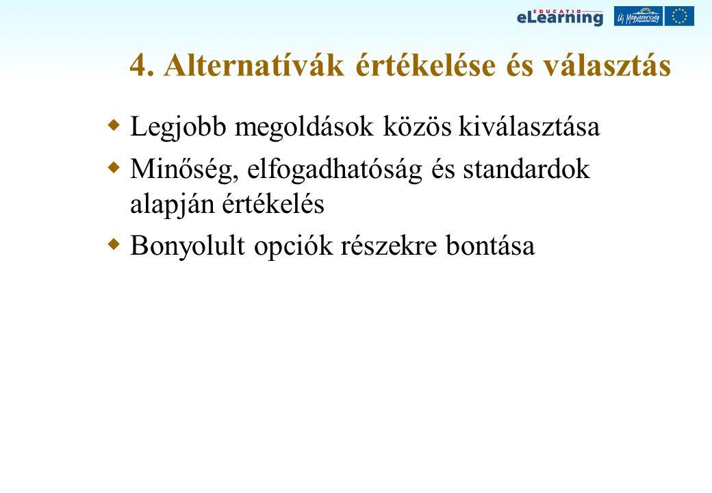 4. Alternatívák értékelése és választás  Legjobb megoldások közös kiválasztása  Minőség, elfogadhatóság és standardok alapján értékelés  Bonyolult