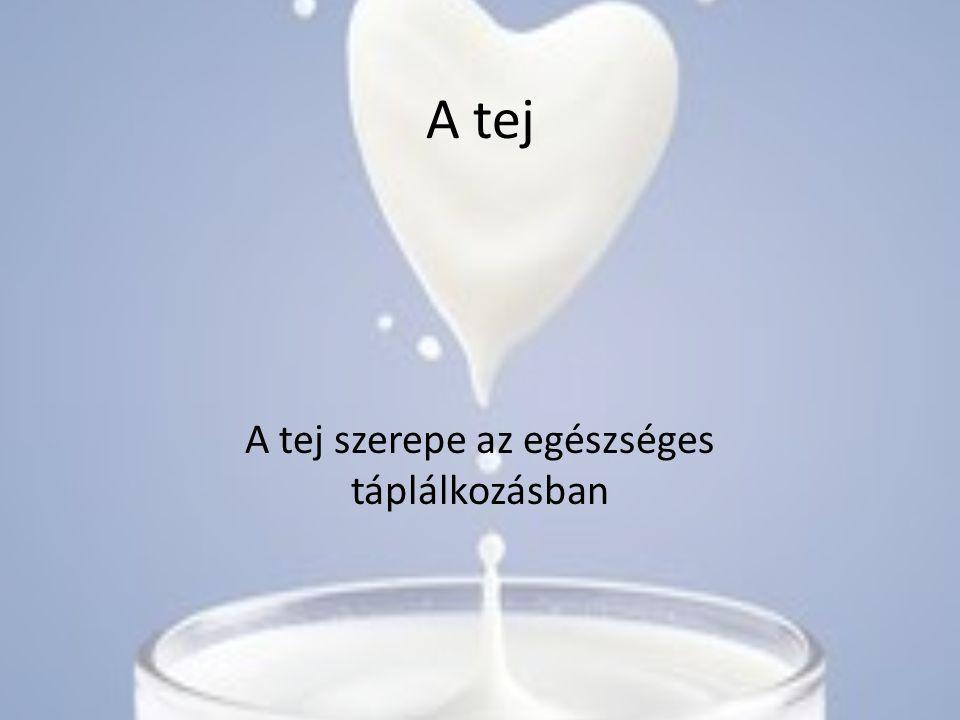 A tej A tej szerepe az egészséges táplálkozásban