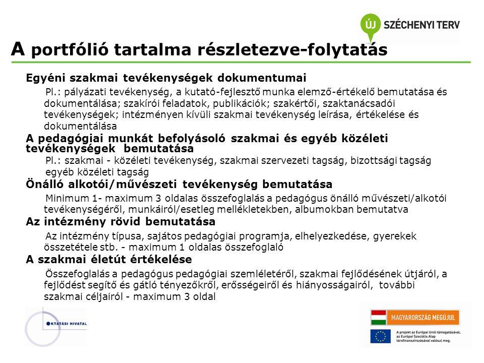 Egyéni szakmai tevékenységek dokumentumai Pl.: pályázati tevékenység, a kutató-fejlesztő munka elemző-értékelő bemutatása és dokumentálása; szakírói f