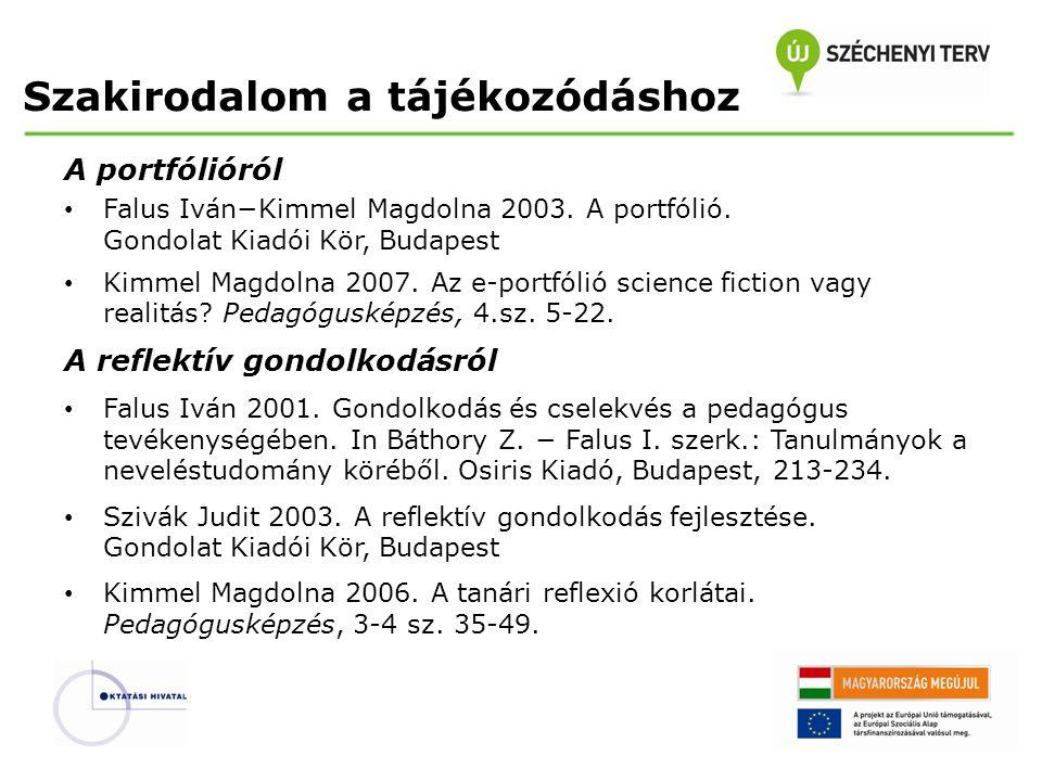 Szakirodalom a tájékozódáshoz A portfólióról Falus Iván−Kimmel Magdolna 2003. A portfólió. Gondolat Kiadói Kör, Budapest Kimmel Magdolna 2007. Az e-po