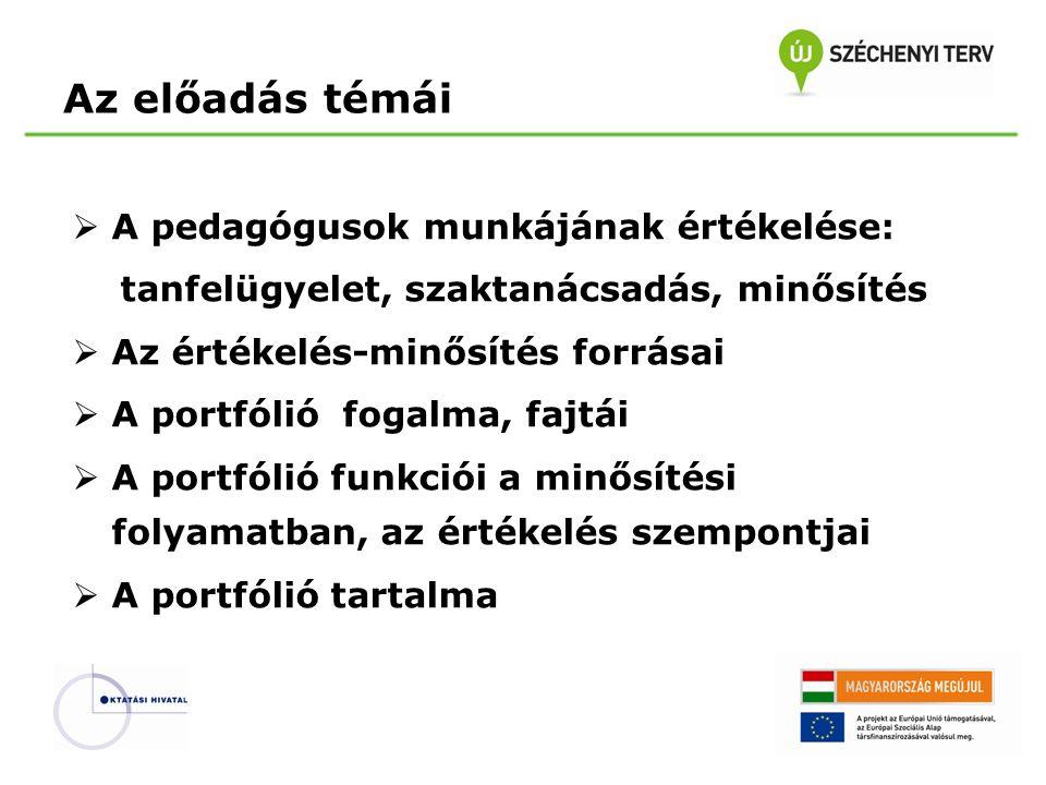 A portfólió dokumentumainak elemzése, értékelése Az értékelés kritériumai  Az életpálya egyes szakaszainak követelményei  A pedagógusok képzési és kimeneteli követelményei (KKK): tudás, képességek attitűdök (felelősség, autonómia)  Az egyes kompetenciák fejlettségét bemutató indikátorok  Az ezek alapján kidolgozott értékelési eszközök