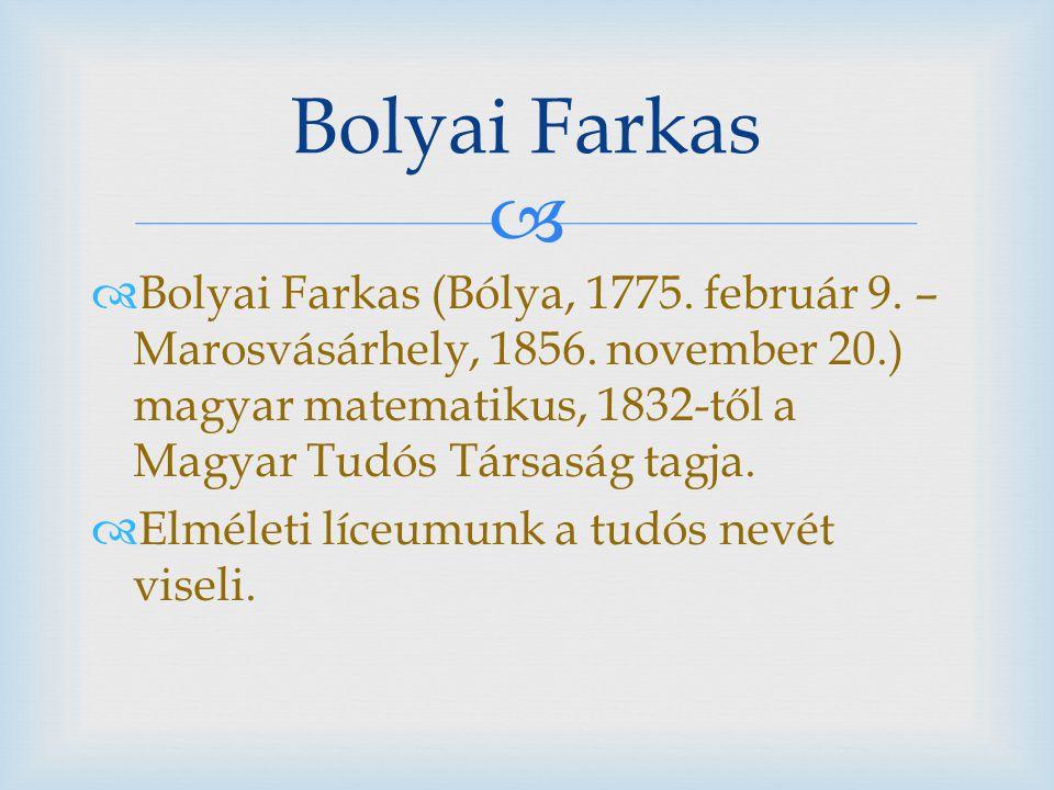   Bolyai Farkas (Bólya, 1775. február 9. – Marosvásárhely, 1856. november 20.) magyar matematikus, 1832-től a Magyar Tudós Társaság tagja.  Elmélet