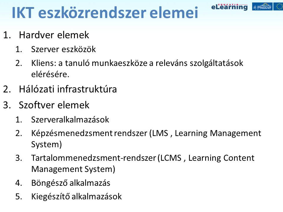 IKT eszközrendszer elemei 1.Hardver elemek 1.Szerver eszközök 2.Kliens: a tanuló munkaeszköze a releváns szolgáltatások elérésére. 2.Hálózati infrastr