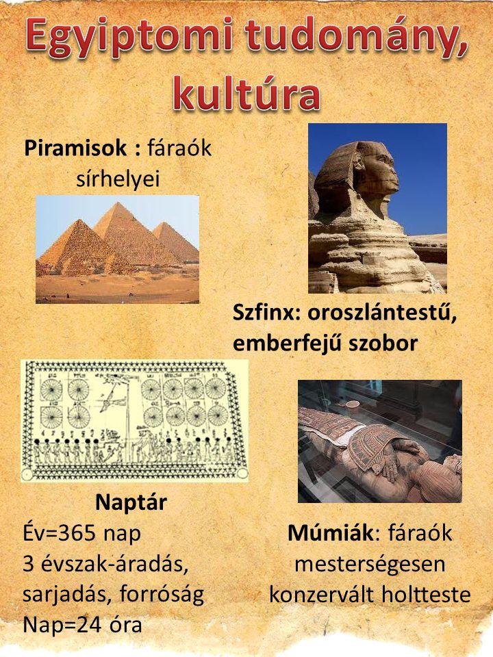 Piramisok : fáraók sírhelyei Szfinx: oroszlántestű, emberfejű szobor Naptár Év=365 nap 3 évszak-áradás, sarjadás, forróság Nap=24 óra Múmiák: fáraók mesterségesen konzervált holtteste