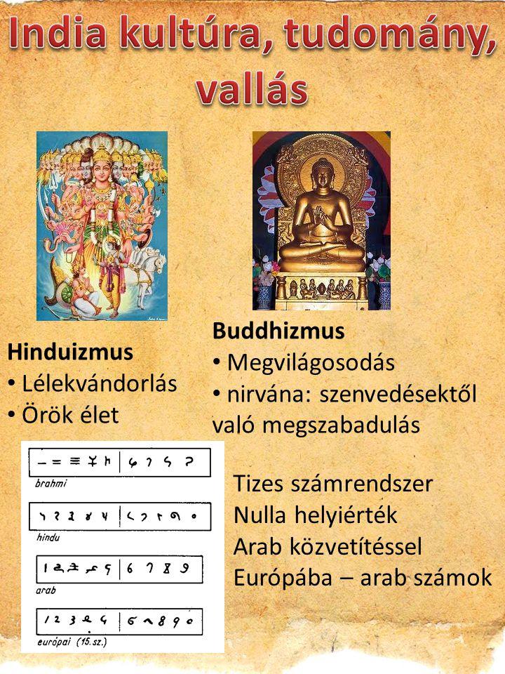 Hinduizmus Lélekvándorlás Örök élet Buddhizmus Megvilágosodás nirvána: szenvedésektől való megszabadulás Tizes számrendszer Nulla helyiérték Arab közvetítéssel Európába – arab számok