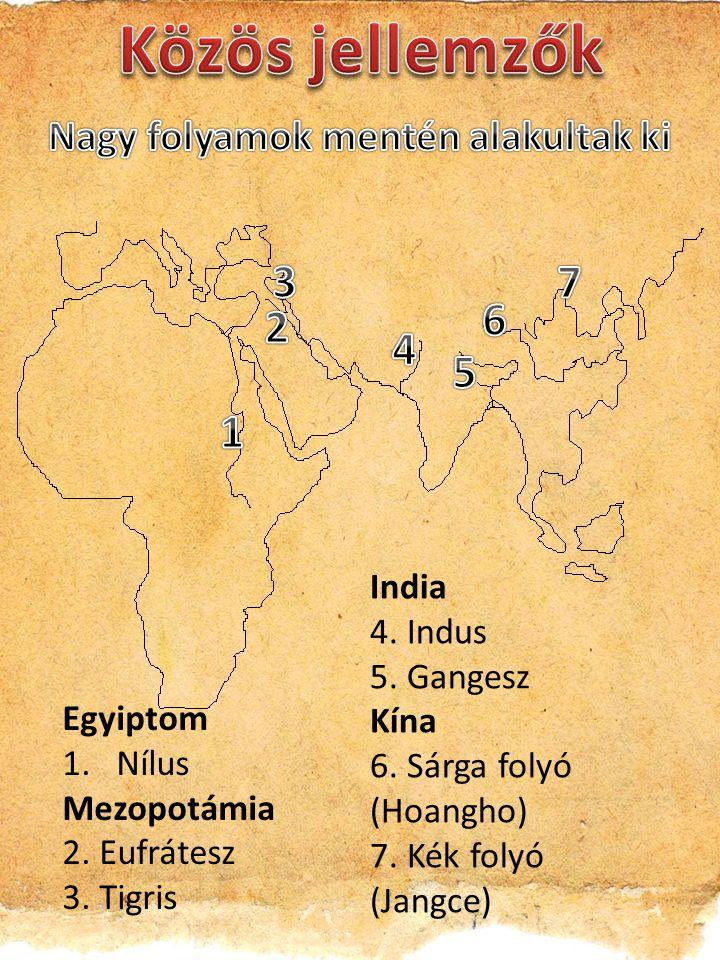 Egyiptom 1.Nílus Mezopotámia 2. Eufrátesz 3. Tigris India 4. Indus 5. Gangesz Kína 6. Sárga folyó (Hoangho) 7. Kék folyó (Jangce)