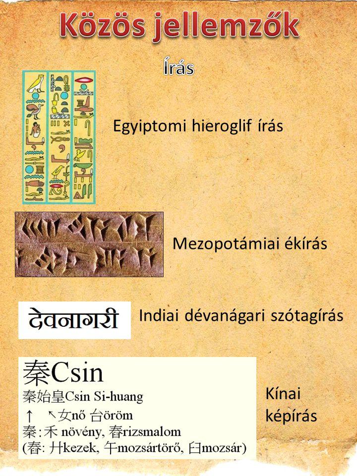 Indiai dévanágari szótagírás Mezopotámiai ékírás Egyiptomi hieroglif írás Kínai képírás