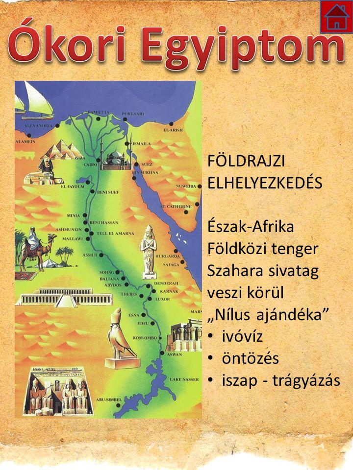 """FÖLDRAJZI ELHELYEZKEDÉS Észak-Afrika Földközi tenger Szahara sivatag veszi körül """"Nílus ajándéka ivóvíz öntözés iszap - trágyázás"""