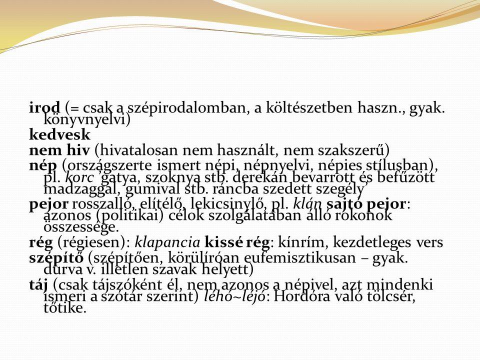 irod (= csak a szépirodalomban, a költészetben haszn., gyak. könyvnyelvi) kedvesk nem hiv (hivatalosan nem használt, nem szakszerű) nép (országszerte