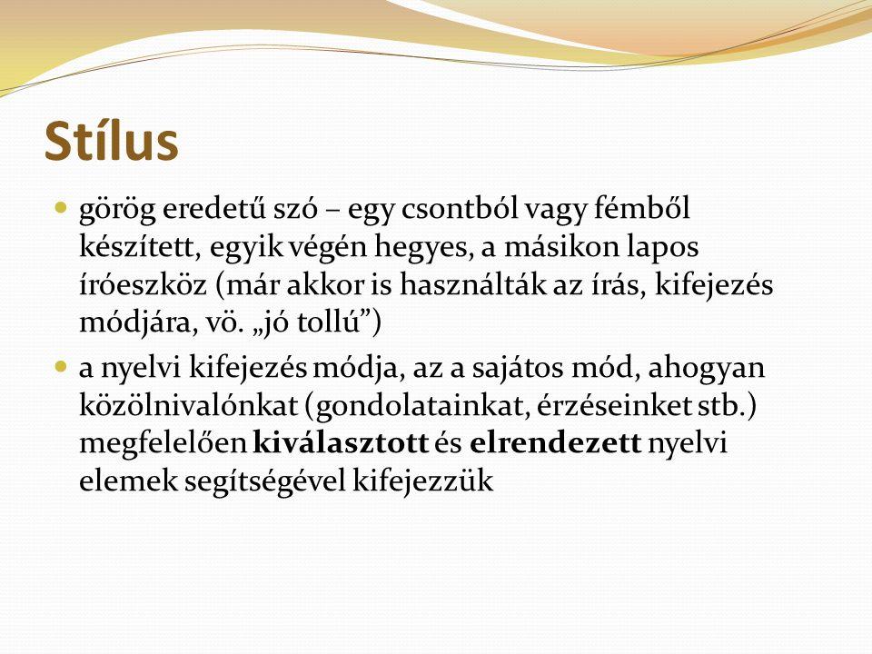 Stílus görög eredetű szó – egy csontból vagy fémből készített, egyik végén hegyes, a másikon lapos íróeszköz (már akkor is használták az írás, kifejez