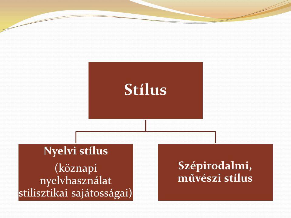 Stílus Nyelvi stílus (köznapi nyelvhasználat stilisztikai sajátosságai) Szépirodalmi, művészi stílus