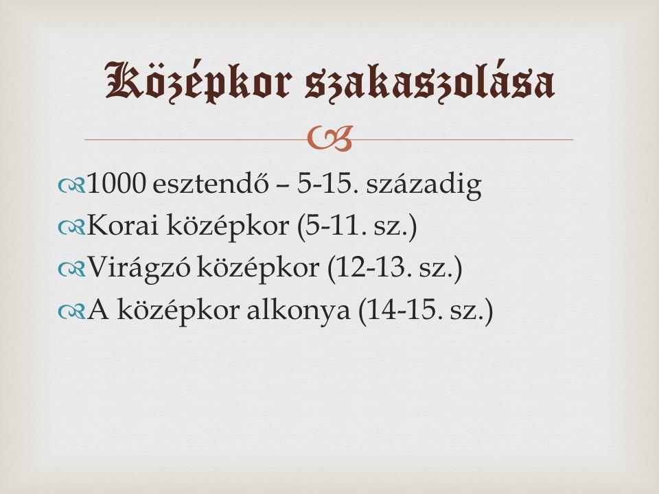  1000 esztendő – 5-15. századig  Korai középkor (5-11. sz.)  Virágzó középkor (12-13. sz.)  A középkor alkonya (14-15. sz.) Középkor szakaszolás