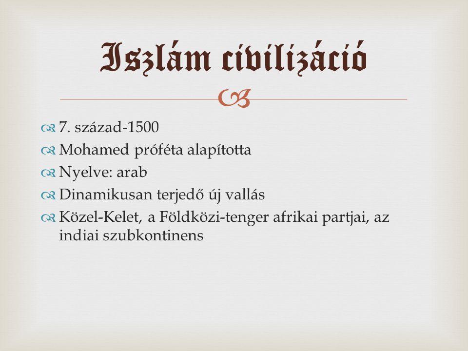   7. század-1500  Mohamed próféta alapította  Nyelve: arab  Dinamikusan terjedő új vallás  Közel-Kelet, a Földközi-tenger afrikai partjai, az in