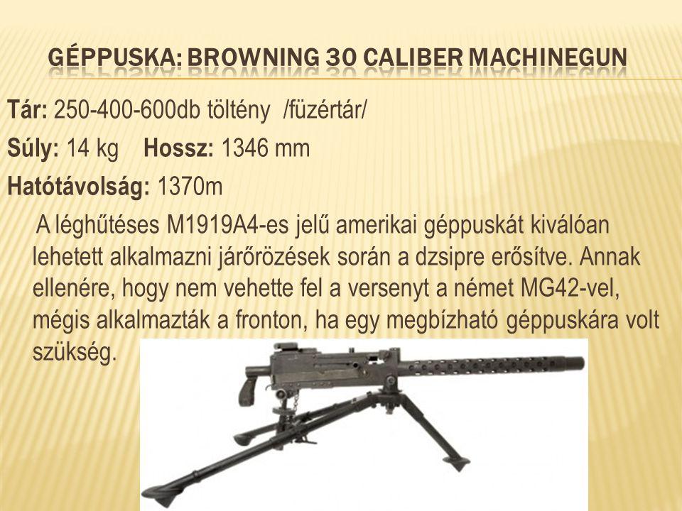 Tár: 250-400-600db töltény /füzértár/ Súly: 14 kg Hossz: 1346 mm Hatótávolság: 1370m A léghűtéses M1919A4-es jelű amerikai géppuskát kiválóan lehetett