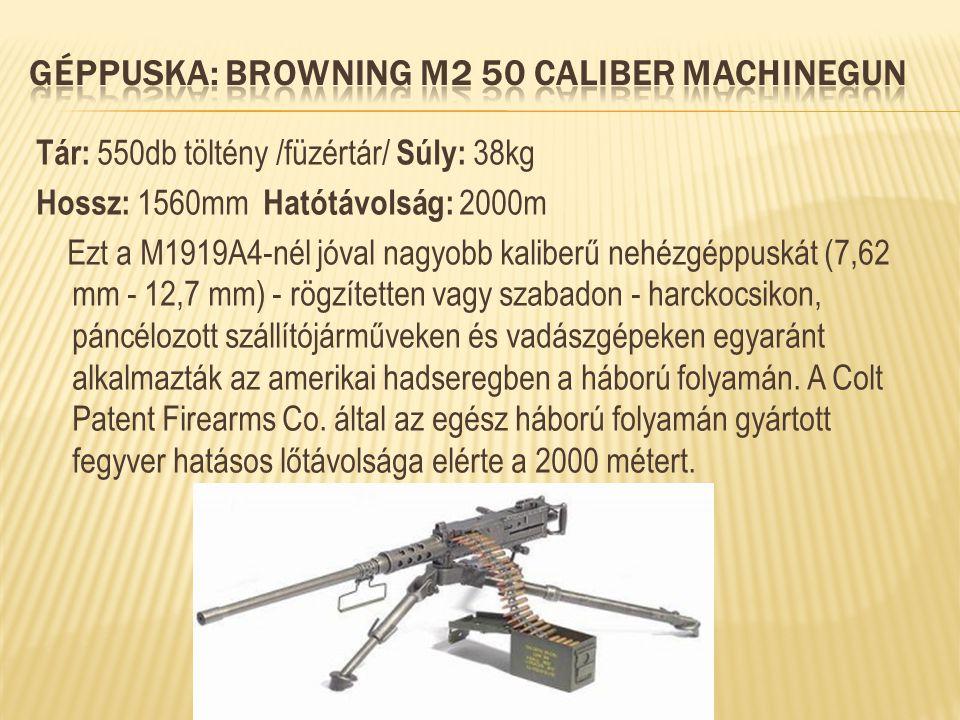 Tár: 550db töltény /füzértár/ Súly: 38kg Hossz: 1560mm Hatótávolság: 2000m Ezt a M1919A4-nél jóval nagyobb kaliberű nehézgéppuskát (7,62 mm - 12,7 mm)