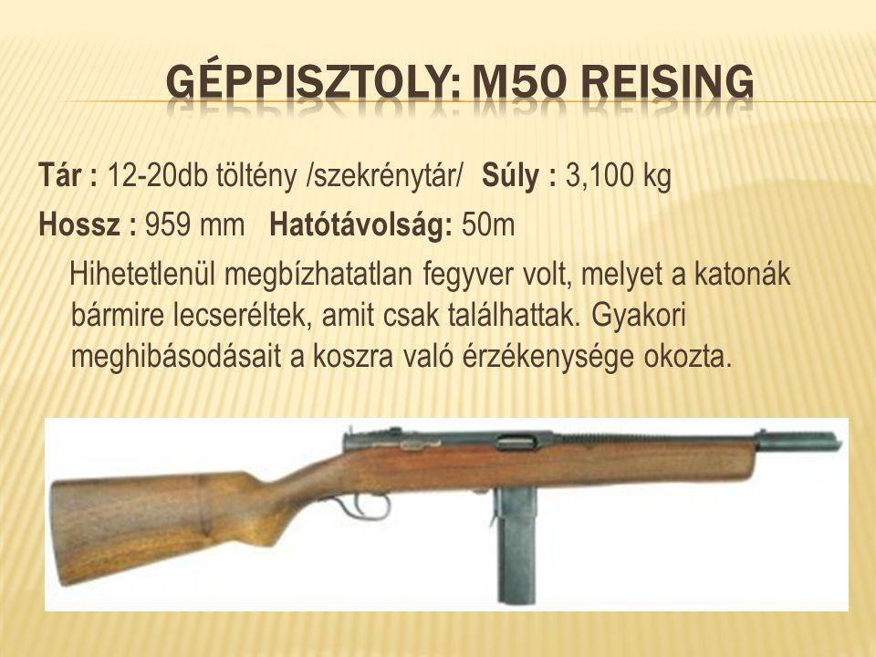 Tár : 12-20db töltény /szekrénytár/ Súly : 3,100 kg Hossz : 959 mm Hatótávolság: 50m Hihetetlenül megbízhatatlan fegyver volt, melyet a katonák bármir