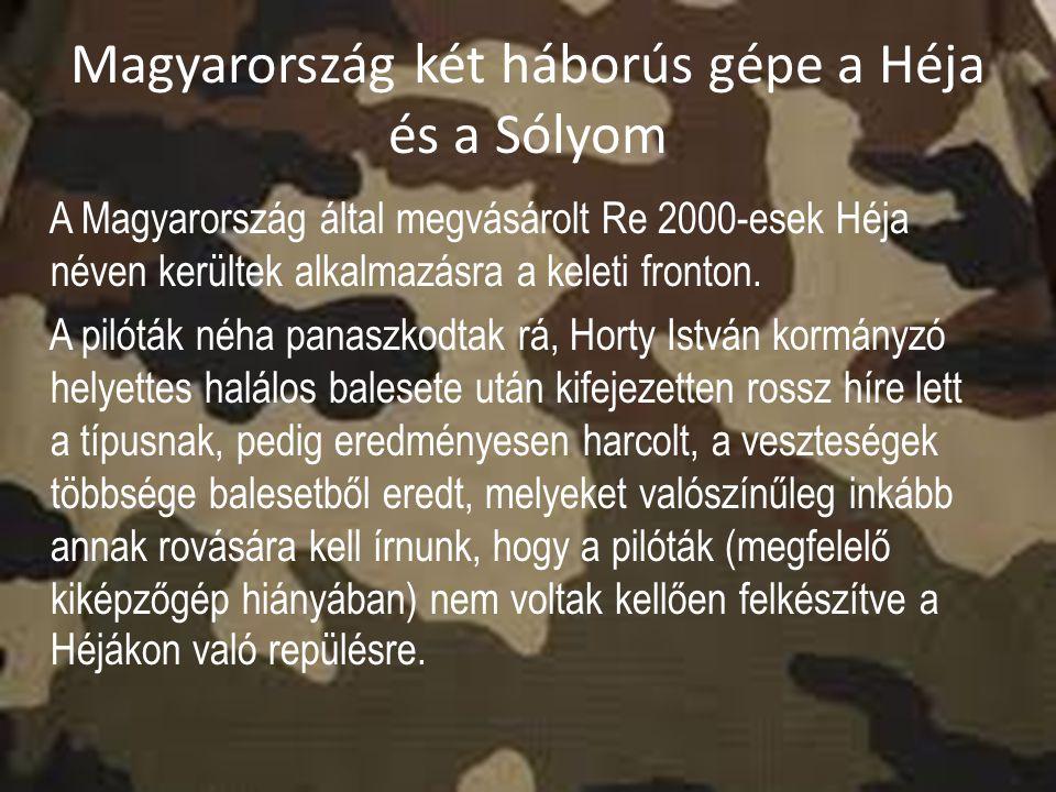 Magyarország két háborús gépe a Héja és a Sólyom A Magyarország által megvásárolt Re 2000-esek Héja néven kerültek alkalmazásra a keleti fronton. A pi