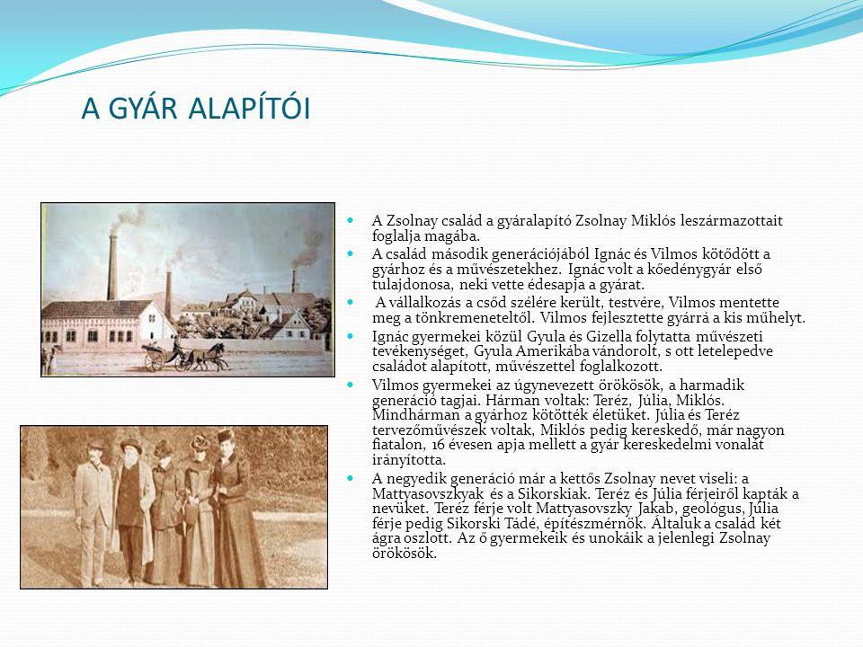A GYÁR ALAPÍTÓI A Zsolnay család a gyáralapító Zsolnay Miklós leszármazottait foglalja magába. A család második generációjából Ignác és Vilmos kötődöt