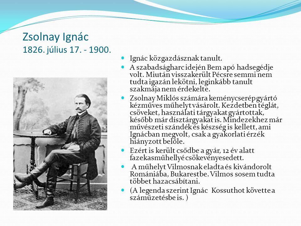Zsolnay Ignác 1826. július 17. - 1900. Ignác közgazdásznak tanult. A szabadságharc idején Bem apó hadsegédje volt. Miután visszakerült Pécsre semmi ne