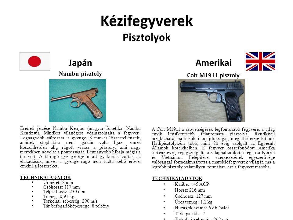 Kézifegyverek Pisztolyok Japán Nambu pisztoly Eredeti jelzése Nambu Kenjuu (magyar fonetika: Nambu Kendzsú). Mindkét világégést végigszolgálta a fegyv