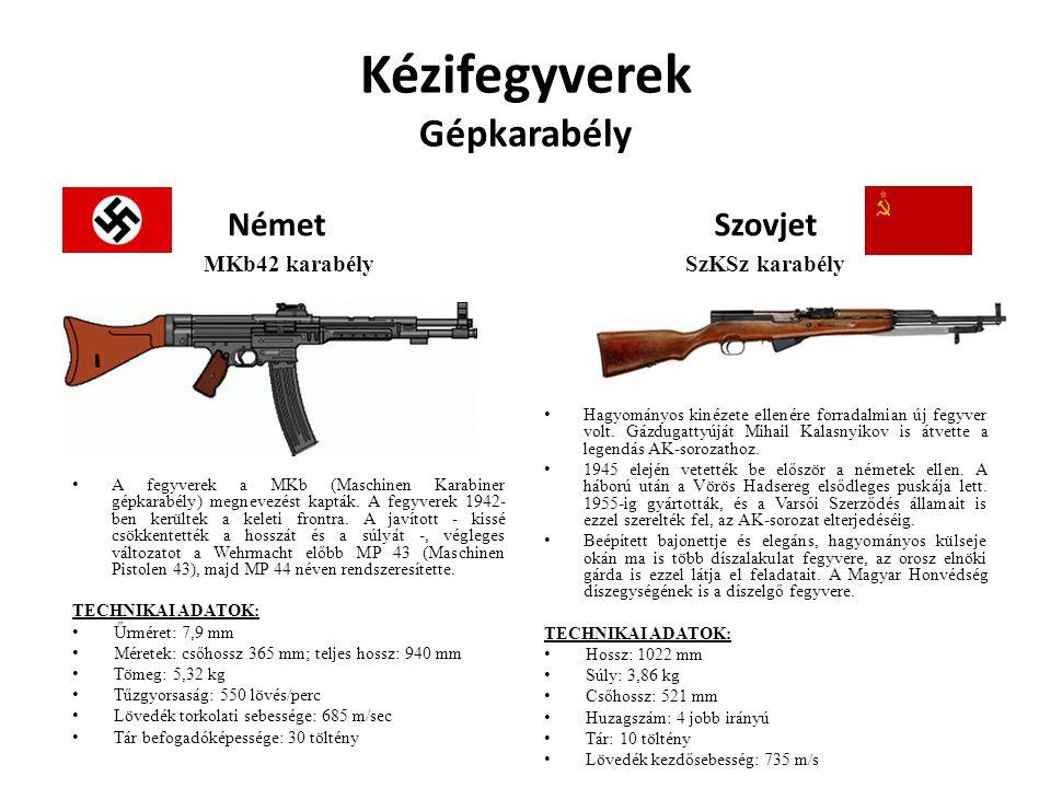 Kézifegyverek Gépkarabély Német MKb42 karabély A fegyverek a MKb (Maschinen Karabiner gépkarabély) megnevezést kapták. A fegyverek 1942- ben kerültek