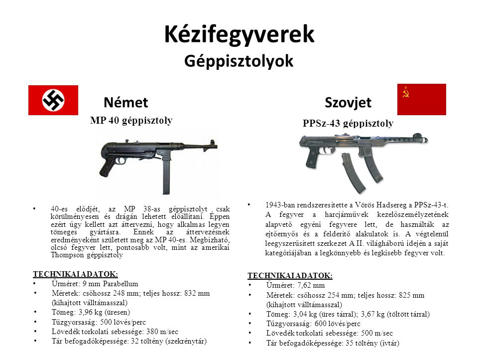 Kézifegyverek Géppisztolyok Német MP 40 géppisztoly 40-es elődjét, az MP 38-as géppisztolyt csak körülményesen és drágán lehetett előállítani. Éppen e