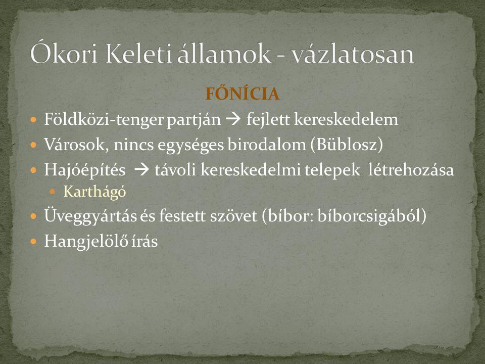 FŐNÍCIA Földközi-tenger partján  fejlett kereskedelem Városok, nincs egységes birodalom (Büblosz) Hajóépítés  távoli kereskedelmi telepek létrehozása Karthágó Üveggyártás és festett szövet (bíbor: bíborcsigából) Hangjelölő írás