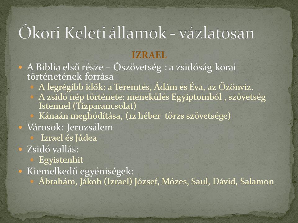 IZRAEL A Biblia első része – Ószövetség : a zsidóság korai történetének forrása A legrégibb idők: a Teremtés, Ádám és Éva, az Özönvíz.