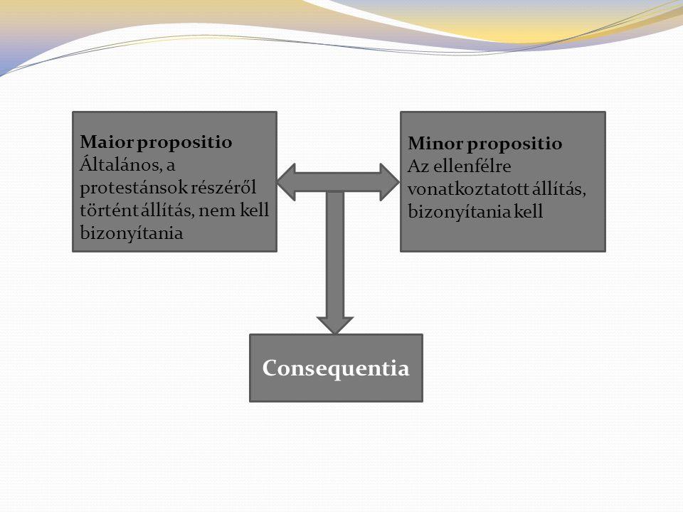 Consequentia Maior propositio Általános, a protestánsok részéről történt állítás, nem kell bizonyítania Minor propositio Az ellenfélre vonatkoztatott
