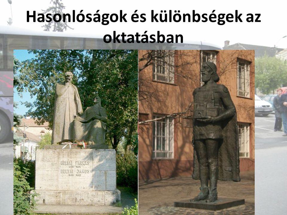 Hasonlóságok és különbségek az oktatásban Mindkét iskolában magyar nyelven oktatnak, de a Bolyaiban kötelez ő a román nyelv tanulása.