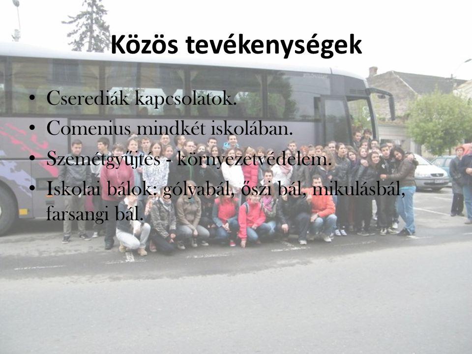Közös tevékenységek Cserediák kapcsolatok. Comenius mindkét iskolában.
