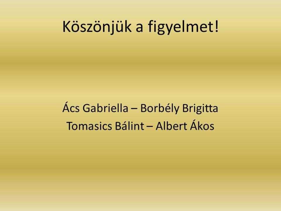 Köszönjük a figyelmet! Ács Gabriella – Borbély Brigitta Tomasics Bálint – Albert Ákos