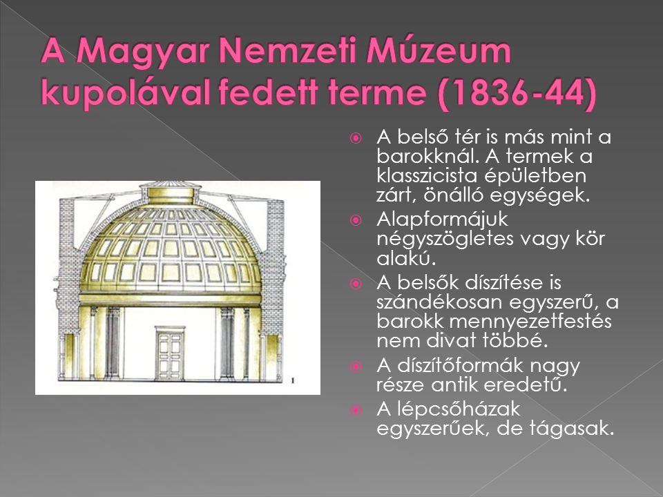  A belső tér is más mint a barokknál. A termek a klasszicista épületben zárt, önálló egységek.  Alapformájuk négyszögletes vagy kör alakú.  A belső