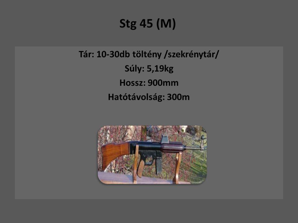 Stg 45 (M) Tár: 10-30db töltény /szekrénytár/ Súly: 5,19kg Hossz: 900mm Hatótávolság: 300m