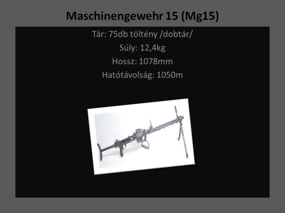 Maschinengewehr 15 (Mg15) Tár: 75db töltény /dobtár/ Súly: 12,4kg Hossz: 1078mm Hatótávolság: 1050m