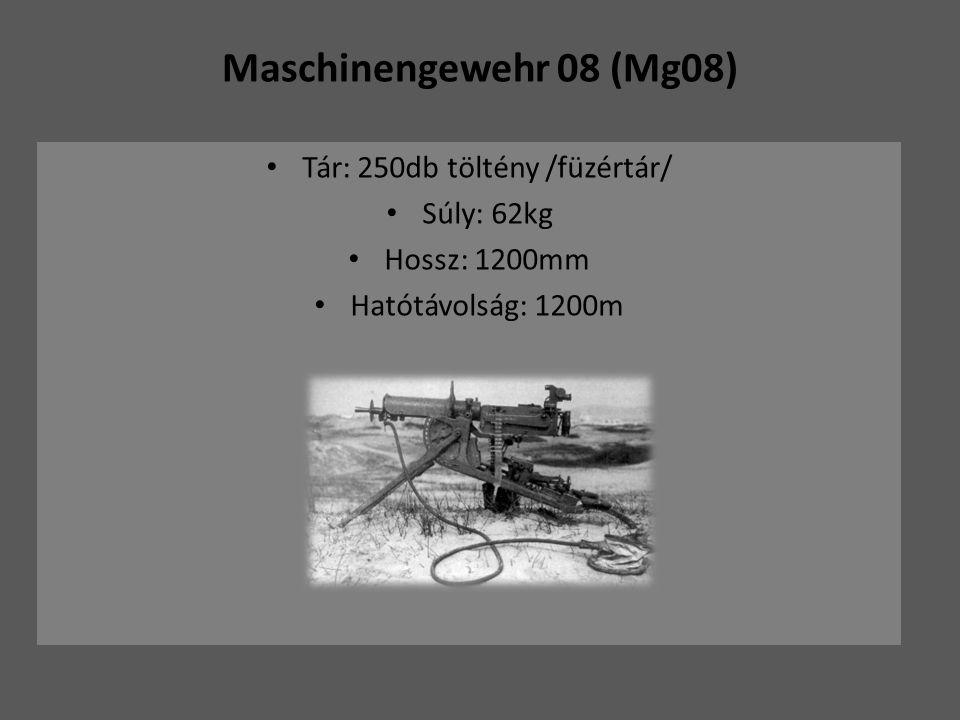 Maschinengewehr 08 (Mg08) Tár: 250db töltény /füzértár/ Súly: 62kg Hossz: 1200mm Hatótávolság: 1200m