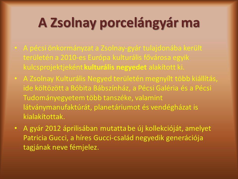 A Zsolnay porcelángyár ma A pécsi önkormányzat a Zsolnay-gyár tulajdonába került területén a 2010-es Európa kulturális fővárosa egyik kulcsprojektjeké
