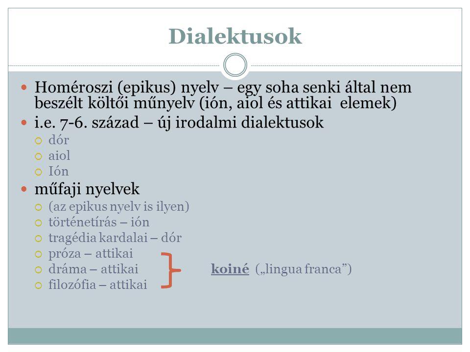 Dialektusok Homéroszi (epikus) nyelv – egy soha senki által nem beszélt költői műnyelv (ión, aiol és attikai elemek) i.e. 7-6. század – új irodalmi di