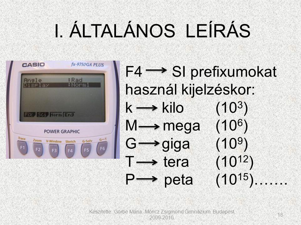Készítette: Görbe Mária, Móricz Zsigmond Gimnázium, Budapest, 2009-2010. 18 I. ÁLTALÁNOS LEÍRÁS F4 SI prefixumokat használ kijelzéskor: k kilo(10 3 )
