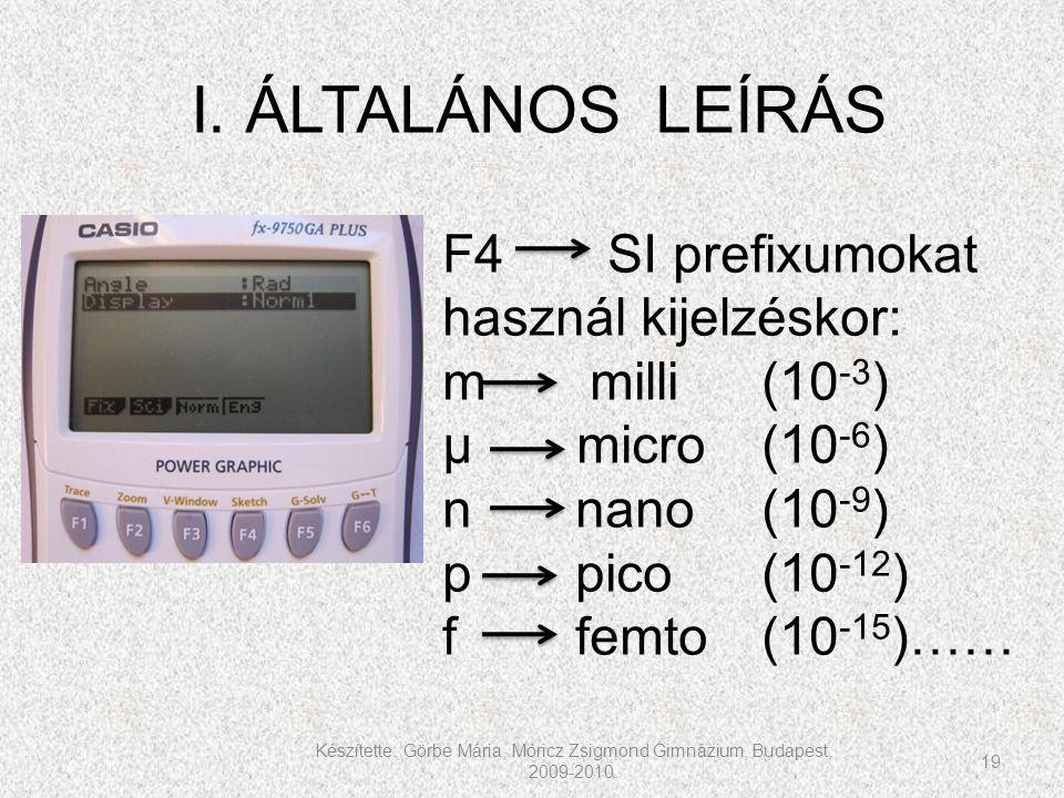 Készítette: Görbe Mária, Móricz Zsigmond Gimnázium, Budapest, 2009-2010. 19 I. ÁLTALÁNOS LEÍRÁS F4 SI prefixumokat használ kijelzéskor: m milli(10 -3