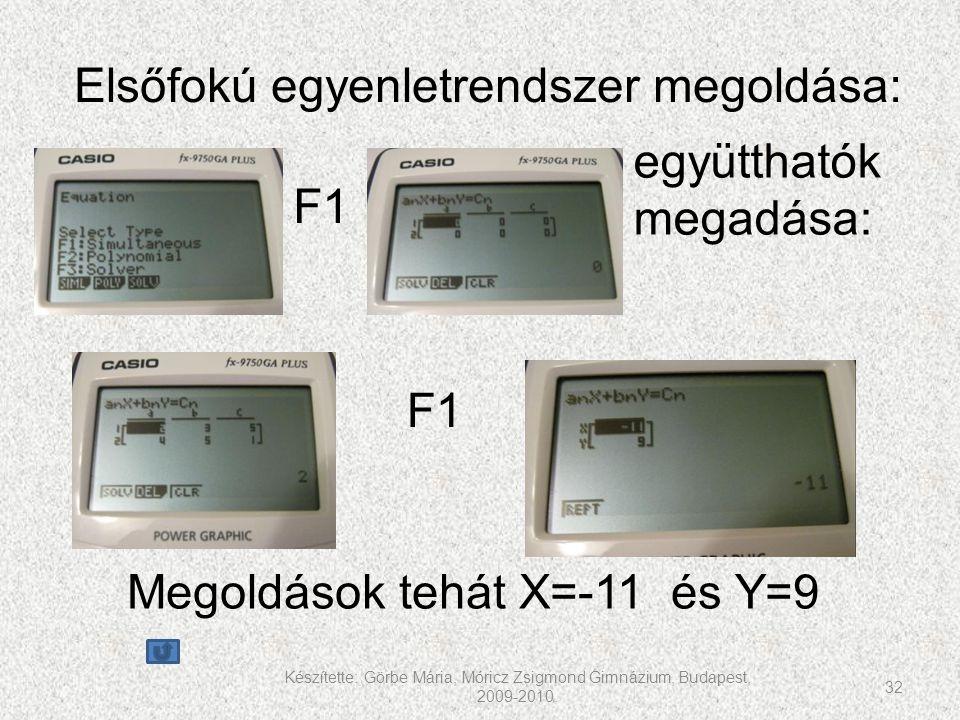Készítette: Görbe Mária, Móricz Zsigmond Gimnázium, Budapest, 2009-2010. 32 F1 együtthatók megadása: F1 Megoldások tehát X=-11 és Y=9 Elsőfokú egyenle
